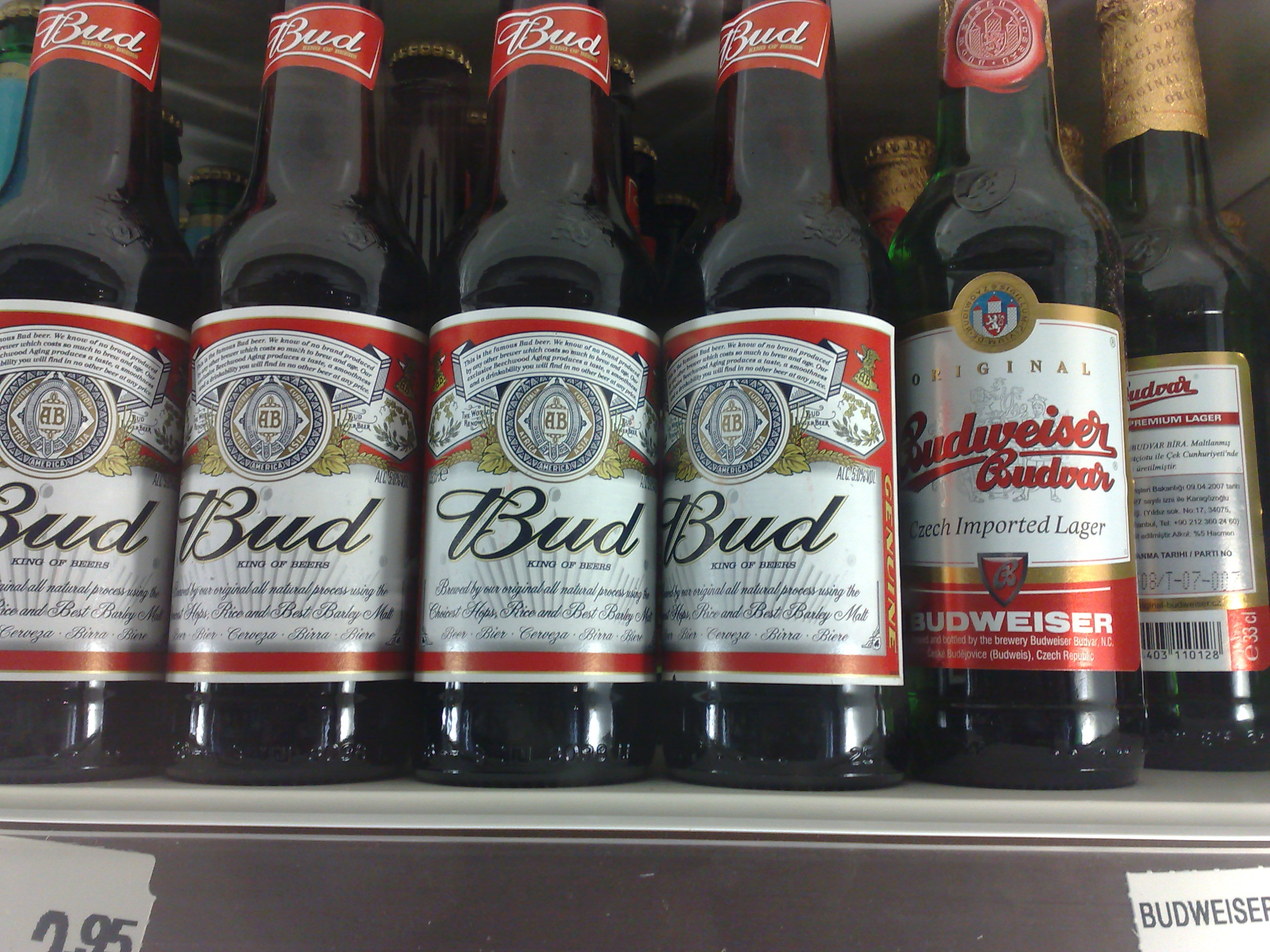 American and Czech Budweiser in Tray